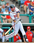 6 March 2012: Atlanta Braves infielder Josh Wilson in action during a Spring Training game against the Washington Nationals at Champion Park in Disney's Wide World of Sports Complex, Orlando, Florida. The Nationals defeated the Braves 5-2 in Grapefruit League action. Mandatory Credit: Ed Wolfstein Photo