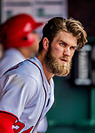 29 April 2017: Washington Nationals outfielder Bryce Harper looks out from the dugout during a game against the New York Mets at Nationals Park in Washington, DC. The Mets defeated the Nationals 5-3 to take the second game of their 3-game weekend series. Mandatory Credit: Ed Wolfstein Photo *** RAW (NEF) Image File Available ***