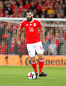 9th October 2017, Cardiff City Stadium, Cardiff, Wales; FIFA World Cup Qualification, Wales versus Republic of Ireland; Joe Ledley on the ball for Wales