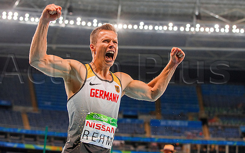 17.09.2016. Rio de Janeiro, Brazil. Markus Rehm of Germany reacts after the Men's Long Jump - T44 Final during the Rio 2016 Paralympic Games, Rio de Janeiro, Brazil, 17 September 2016. Rehm wins the Gold medal.