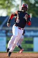 Batavia Muckdogs third baseman Javier Lopez (23) running the bases during a game against the State College Spikes on June 23, 2016 at Dwyer Stadium in Batavia, New York.  State College defeated Batavia 8-4.  (Mike Janes/Four Seam Images)