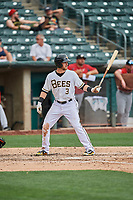 Taylor Ward (3) of the Salt Lake Bees bats against the El Paso Chihuahuas at Smith's Ballpark on July 8, 2018 in Salt Lake City, Utah. El Paso defeated Salt Lake 15-6. (Stephen Smith/Four Seam Images)