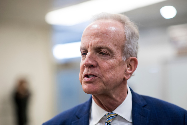 UNITED STATES - NOVEMBER 29: Sen. Jerry Moran, R-Kan., speaks with a reporter at the Senate subway on Tuesday, Nov. 29, 2016. (Photo By Bill Clark/CQ Roll Call)