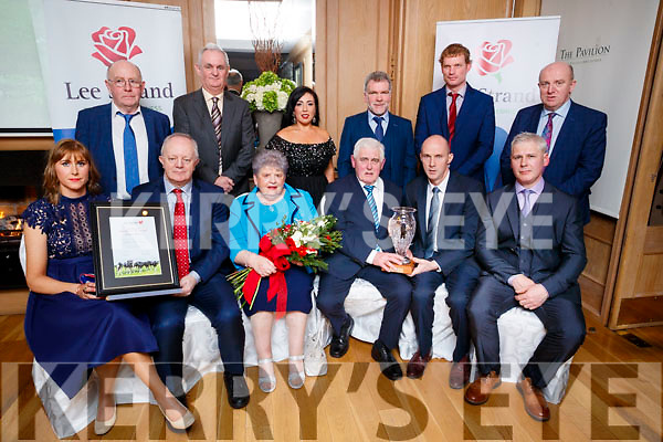 Awards winners at the Lee Strand social at Ballygarry House Hotel & Spa, Tralee, on Saturday night last were l-r: Siobhan Sheehy Slattery (over all winner Milk quality award), John O'Sullivan (Lee Strand), Mary Slattery, John Slattery, Donal Pierce and Tom Slattery. Back l-r: John Daly, Mike Mangan (Lee Strand), Theresa Walker (Lee Strand), Eric O'Brien, Declan Roche and Jerry Dwyer (Lee Strand).