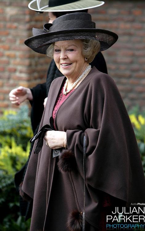 Queen Beatrix attends the Christening of Crown Prince Willem-Alexander & Crown Princess Maxima's daughter Princess Alexia at the Dorpskerk in Wassenaar..