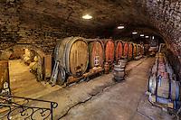 France, Jura (39), Arbois, une des plus belle cave de la ville, celle d'Evelyne et Pascal Clairet du Domaine de la Tournelle // France, Jura, Arbois, one of the most beautiful cave in the city, that of Evelyn and Pascal Clairet, Domaine de la Tournelle