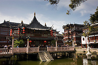 The Huxinting Teahouse, on the ZigZag walkway bridge at Yu Garden Bazaar Market, Shanghai, China