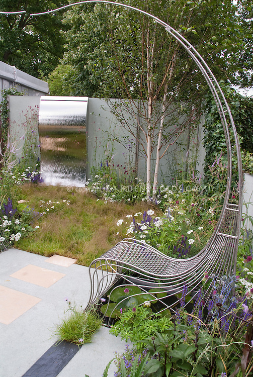 Curved Chair And Sinuous Water Feature In Sophisticated Garden U0026 Patio,  With Wall, Birch