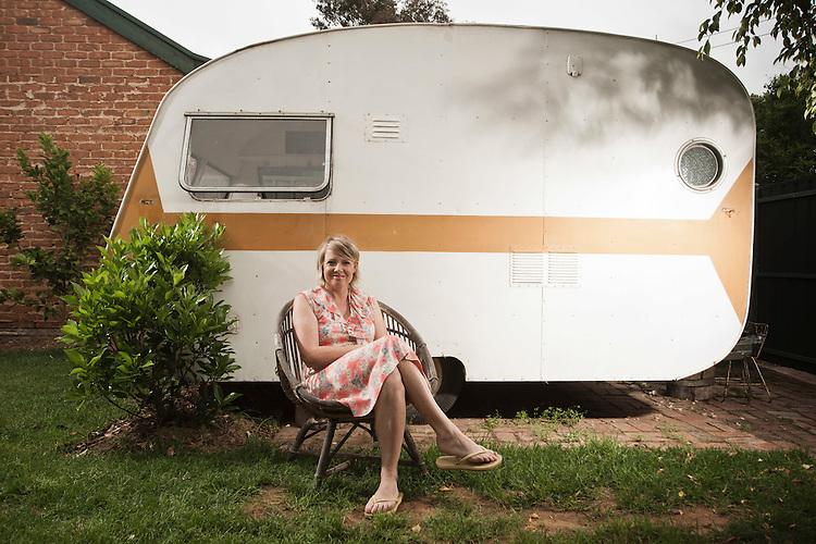 Mardi Zeunert and Her vintage Caravan 'Flossie' which is in the process of being restored.