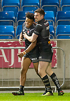 Picture by Allan McKenzie/SWpix.com - 26/04/2018 - Rugby League - Betfred Super League - Salford Red Devils v St Helens - AJ Bell Stadium, Salford, England - Regan Grace is congratulated by Mark Percival after scoring a try.