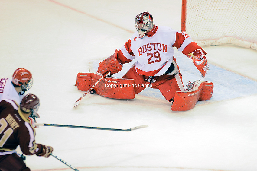 Boston University Terriers goalie Matt O'Connor (29) makes a pad save  during the Boston College vs Boston University NCAA hockey match played at the Agganis Arena, in Boston Massachusetts.  Eric Canha/CSM