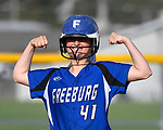 Freeburg batter Maddie Mense flexes her muscles for her teammates after hitting a double. Breese Central High School played at Freeburg High School on Tuesday May 1, 2018. Tim Vizer | Special to STLhighschoolsports.com