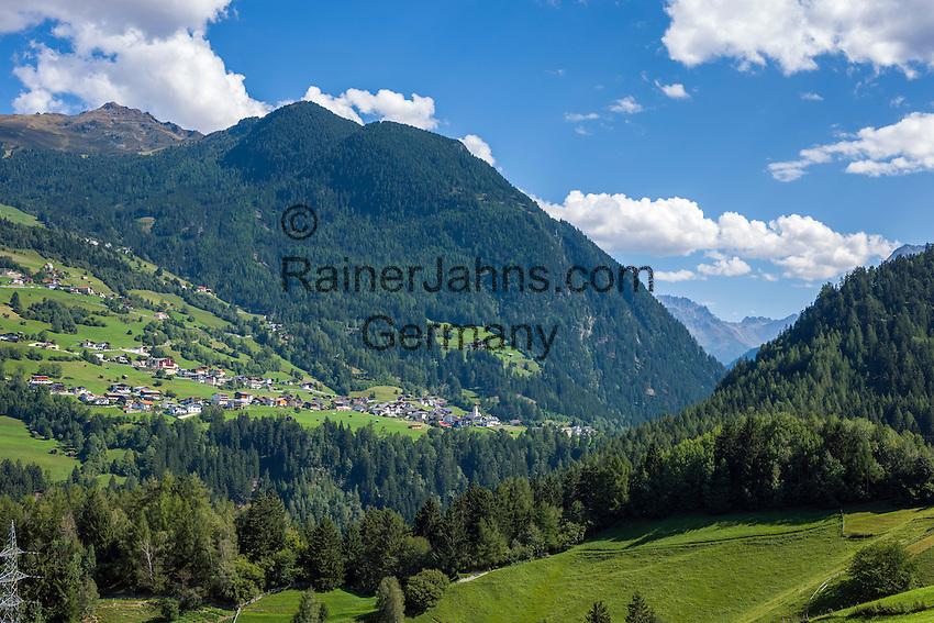 Austria, Tyrol, Pitztal Valley, Jerzens in Pitztal Valley with parish church   Oesterreich, Tirol, Pitztal, Jerzens im vorderen Pitztal mit Katholischer Pfarrkirche hl. Gotthard