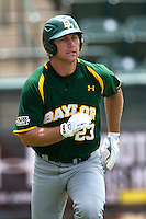 Baylor Bears PPP Dan Evatt #23 runs to first during the NCAA Regional baseball game against Oral Roberts University on June 3, 2012 at Baylor Ball Park in Waco, Texas. Baylor defeated Oral Roberts 5-2. (Andrew Woolley/Four Seam Images)