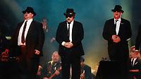 Blues Brothers6027.JPG<br /> <br /> 1997 <br /> John Goodman, James Belushi,<br /> Dan Aykroyd, James Brown 1997<br /> Photo to By John Barrett-PHOTOlink.net/MediaPunch