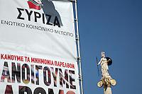 logo di Syriza e statua di Atena