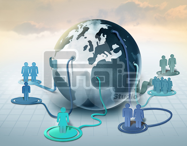 Illustrative image of crowd representing human network