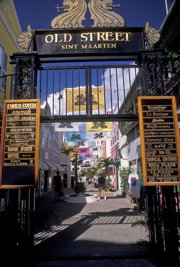 "AJ2424, St. Maarten, Caribbean, Philipsburg, Caribbean Islands, Entrance to """"Old Street"""" in Philipsburg the Dutch capital on the island of Sint Maarten (dutch part)."