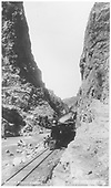 Caboose hop posed near hanging bridge.<br /> D&amp;RG  Royal Gorge, CO  Taken by Jackson, William Henry - ca 1881-1885