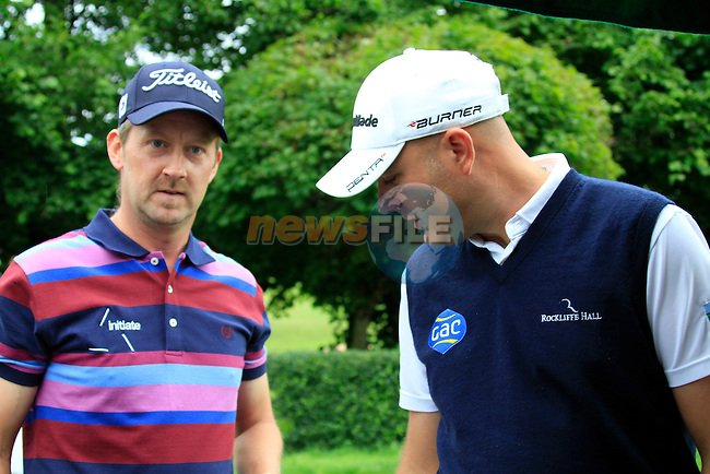Liam Bond (WAL) and Graeme Storm (ENG) arrive on the 1st tee to start their round during of Day 3 of the BMW International Open at Golf Club Munchen Eichenried, Germany, 25th June 2011 (Photo Eoin Clarke/www.golffile.ie)