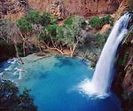 USA, Arizona,  Havasupai Indian reservation. Havisu Falls in the Grand Canyon.