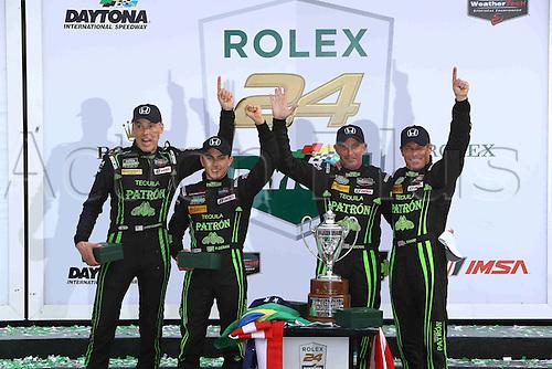 31.01.2016. Daytona Raceway, Daytona Beach, Florida, United States. Rolex 24 Hour Daytona Championships.  #2 TEQUILA PATRON ESM (USA) LIGIER JS P2 LMP2 SCOTT SHARP (USA) ED BROWN (USA) JOHANNES VAN OVERBEEk (USA) LUIS FELIPE DERANI (BRA) - OVERALL WINNERS & PROTOTYPE CATEGORY WINNER