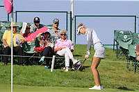 Nelly Korda (USA) chips onto the 18th green during Thursday's Round 1 of The Evian Championship 2018, held at the Evian Resort Golf Club, Evian-les-Bains, France. 13th September 2018.<br /> Picture: Eoin Clarke | Golffile<br /> <br /> <br /> All photos usage must carry mandatory copyright credit (© Golffile | Eoin Clarke)