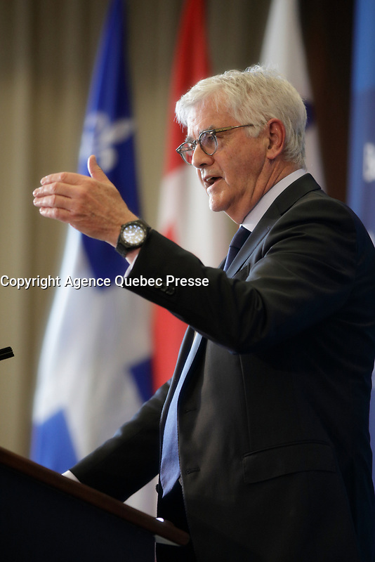 Lawrence Cannon<br /> , Canadian Ambassador in France speak,  May 28, 2017<br /> <br />  PHOTO  :   Agence Quebec Presse