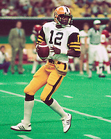 Peter Gales HamiltonTiger Cats quarterback 1984. Copyright photograph Scott Grant