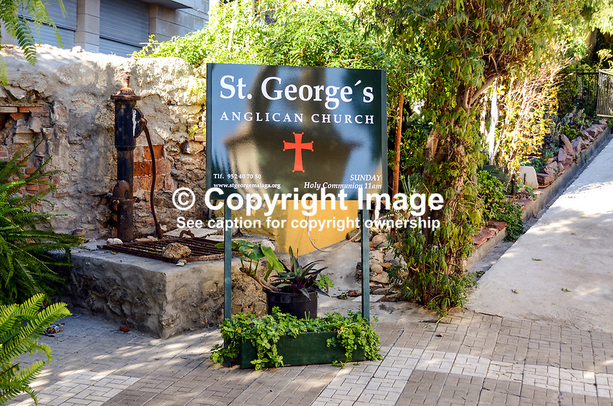 Signage, St George's Anglican Church, Malaga, Andalusia, Spain, 201313203062<br /> <br /> Copyright Image from Victor Patterson, 54 Dorchester Park, Belfast, UK, BT9 6RJ<br /> <br /> Tel: +44 28 9066 1296<br /> Mob: +44 7802 353836<br /> Voicemail +44 20 8816 7153<br /> Email: victorpatterson@me.com<br /> <br /> <br /> IMPORTANT: If you wish to use this image or any other of my images please go to www.victorpatterson.com and click on the Terms &amp; Conditions. Then contact me by email or phone with the reference number(s) of the image(s) concerned.