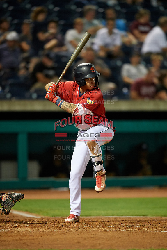 State College Spikes second baseman Edwin Figuera (7) at bat during a game against the West Virginia Black Bears on August 30, 2018 at Medlar Field at Lubrano Park in State College, Pennsylvania.  West Virginia defeated State College 5-3.  (Mike Janes/Four Seam Images)