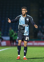 Paris Cowan-Hall of Wycombe Wanderers calls for the ball during the Sky Bet League 2 match between Wycombe Wanderers and Leyton Orient at Adams Park, High Wycombe, England on 23 January 2016. Photo by Andy Rowland / PRiME Media Images.