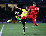 Watford's Adrian Mariappa tussles with Liverpool's Robert Firminio during the Premier League match at Vicarage Road Stadium, London. Picture date: May 1st, 2017. Pic credit should read: David Klein/Sportimage
