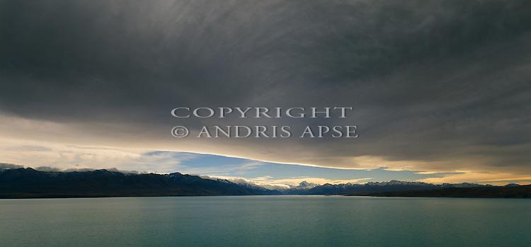 Cloud covered Lake Pukaki. Canterbury Region. New Zealand.