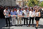 Cutting the ribbon for the start of Stage 13 of the 2017 La Vuelta, running 198.4km from Coin to Tomares, Seville, Spain. 1st September 2017.<br />