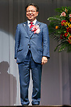 Japan's Minister of Economy, Trade and Industry Hiroshige Seko (R) poses for the cameras during the 30th Japan Best Dressed Eyes Awards at Tokyo Big Sight on October 11, 2017, Tokyo, Japan. The event featured Japanese celebrities who were recognized for their fashionable eyewear. (Photo by Rodrigo Reyes Marin/AFLO)