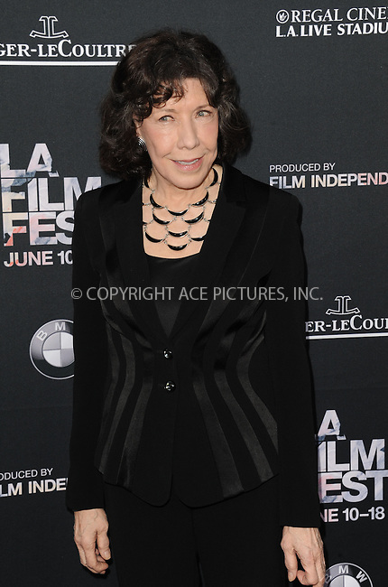 WWW.ACEPIXS.COM<br /> <br /> June 10 2015, Los Angeles Ca<br /> <br /> Lily Tomlin arriving at the 'Grandma' premiere at Regal Cinemas on June 10 2015 in Los Angeles Ca.<br /> <br /> Please byline: Peter West/ACE Pictures<br /> <br /> ACE Pictures, Inc.<br /> www.acepixs.com<br /> Email: info@acepixs.com<br /> Tel: 646 769 0430