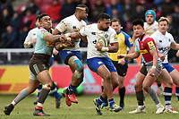 Cooper Vuna of Bath Rugby takes on the Harlequins defence. Aviva Premiership match, between Harlequins and Bath Rugby on March 2, 2018 at the Twickenham Stoop in London, England. Photo by: Patrick Khachfe / Onside Images