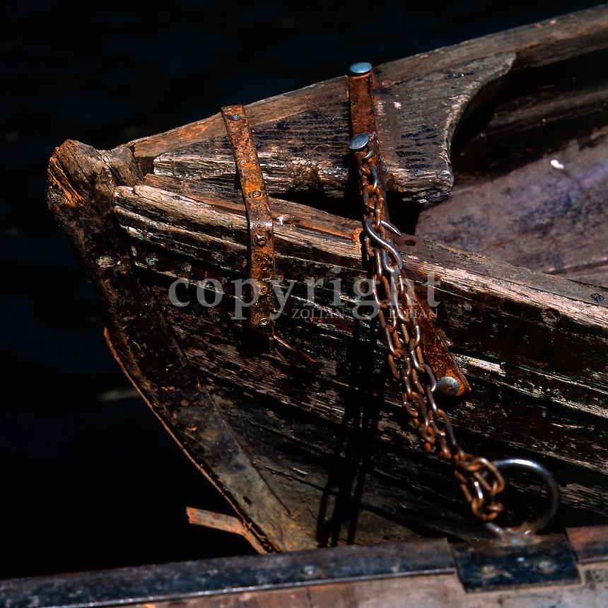 Detail of an old wooden boat at Lake Biograd, Kolasin, Montenegro, Europe