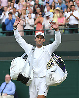Rafael Nadal (ESP) after his match against Sam Querrey (USA) in their Gentleman's Singles Quarter Final match<br /> <br /> <br /> Photographer Rob Newell/CameraSport<br /> <br /> Wimbledon Lawn Tennis Championships - Day 9 - Wednesday 10th July 2019 -  All England Lawn Tennis and Croquet Club - Wimbledon - London - England<br /> <br /> World Copyright © 2019 CameraSport. All rights reserved. 43 Linden Ave. Countesthorpe. Leicester. England. LE8 5PG - Tel: +44 (0) 116 277 4147 - admin@camerasport.com - www.camerasport.com