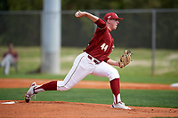 Boston College Eagles starting pitcher Jacob Stevens (44) delivers a pitch during a game against the Minnesota Golden Gophers on February 23, 2018 at North Charlotte Regional Park in Port Charlotte, Florida.  Minnesota defeated Boston College 14-1.  (Mike Janes/Four Seam Images)