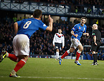 Lee Wallace celebrates as he scores goal no 2 for Rangers after he turned in a short corner kick by team mate Ian Black