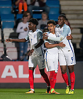 Goalscorer Stephy Mavididi (right) (on loan from Arsenal) of England U20 with Marcus Edwards (Tottenham Hotspur) of England U20 during the International friendly match between England U20 and Netherlands U20 at New Bucks Head, Telford, England on 31 August 2017. Photo by Andy Rowland.