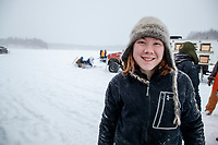 Lara Anne Renner portrait at the start of the 2018 Junior Iditarod Sled Dog Race on Knik Lake in Southcentral, Alaska.  Saturday February 24, 2018<br /> <br /> Photo by Jeff Schultz/SchultzPhoto.com  (C) 2018  ALL RIGHTS RESERVED