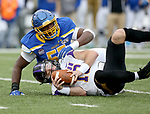 BROOKINGS, SD - NOVEMBER 16: Will McElvain #13 of the Northern Iowa Panthers is brought down by Thomas Stacker #55 of the South Dakota State Jackrabbits during their game Saturday afternoon at Dana J. Dykhouse Stadium in Brookings, SD. (Photo by Dave Eggen/Inertia)
