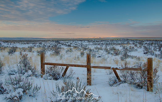 Idaho, South Central, Twin Falls, Hansen. Pre-dawn light over Browns Bench and the sagebrush filled landscape in winter.
