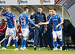 Hamilton Accies v St Johnstone...31.10.15  SPFL  New Douglas Park, Hamilton<br /> Tommy Wright congratulates Michael O'Halloran as he is subbed by Chris Kane<br /> Picture by Graeme Hart.<br /> Copyright Perthshire Picture Agency<br /> Tel: 01738 623350  Mobile: 07990 594431