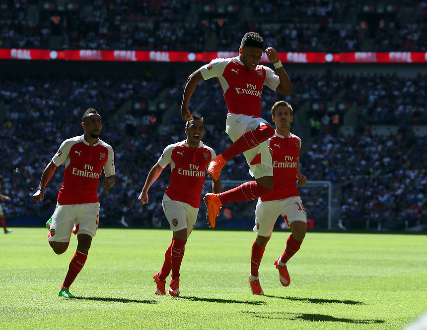 Arsenal's Alex Oxlade-Chamberlain celebrates scoring the opening goal  <br /> <br /> Photographer Kieran Galvin/CameraSport<br /> <br /> Football - FA Community Shield - Arsenal v Chelsea - Sunday 2nd August 2015 - Wembley Stadium - London<br /> <br /> &copy; CameraSport - 43 Linden Ave. Countesthorpe. Leicester. England. LE8 5PG - Tel: +44 (0) 116 277 4147 - admin@camerasport.com - www.camerasport.com