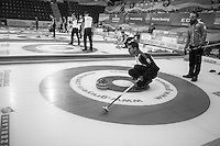 Glasgow. SCOTLAND.  &quot;Round Robin&quot; Game. Italy vs Switzerland at the Le Gruy&egrave;re European Curling Championships. 2016 Venue, Braehead  Scotland<br /> Tuesday  22/11/2016<br /> <br /> [Mandatory Credit; Peter Spurrier/Intersport-images]