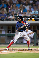 Jose Vinicio (2) of the Pawtucket Red Sox at bat against the Charlotte Knights at BB&T BallPark on July 6, 2016 in Charlotte, North Carolina.  The Knights defeated the Red Sox 8-6.  (Brian Westerholt/Four Seam Images)